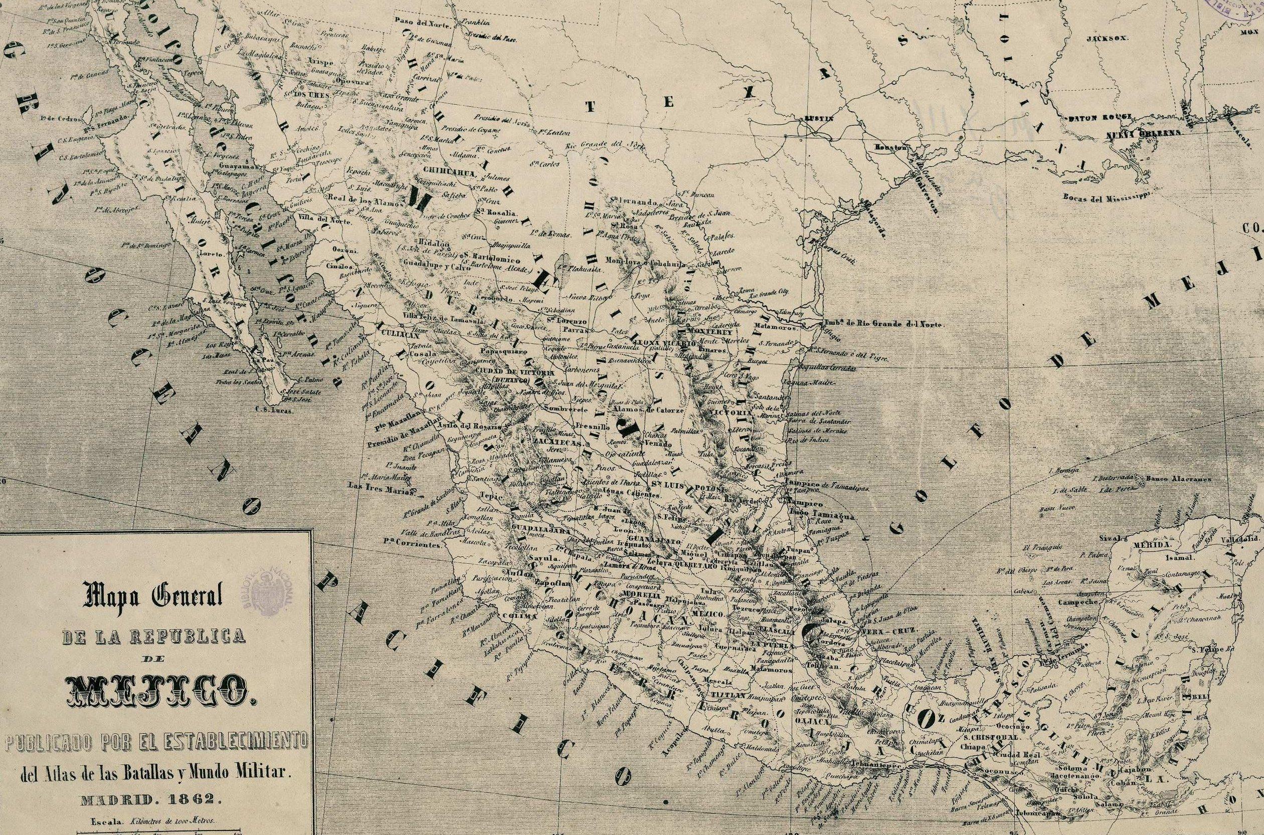 Mapa español de la República de Méjico y el golfo de Méjico (1862)