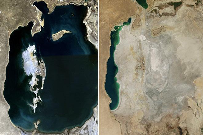 El mar de Aral en los años 1989 (izda.) y 2014 (dcha.)