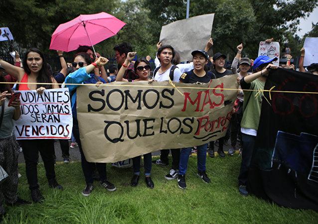 Protesta de estudiantes de la UNAM en México