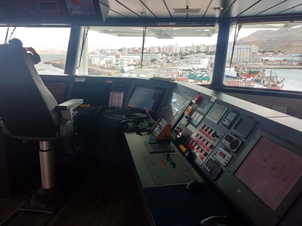 Sala de comandos del Seabed Constructor, buque noruego que retomará la búsqueda del Ara San Juan