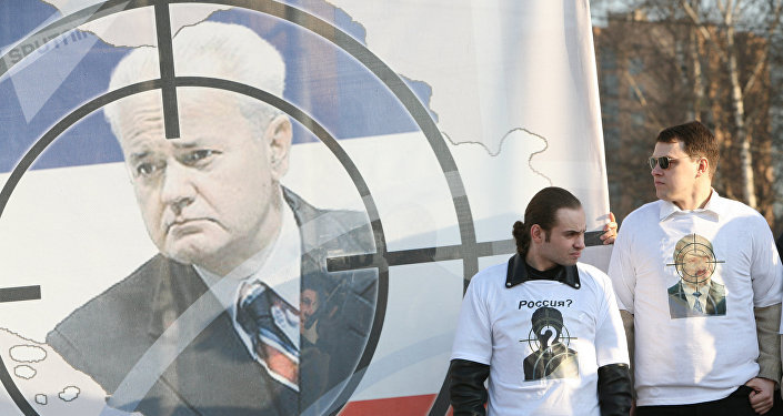 El retrato del expresidente yugoslavo Slobodan Milosevic (archivo)