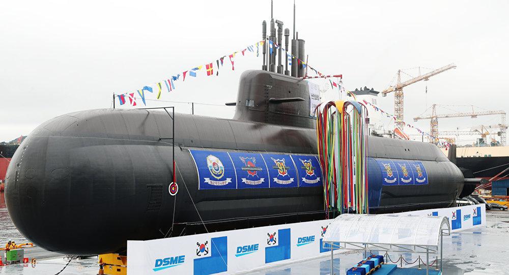 La ceremonia de botadura del Dosan Ahn Chang-ho, primer submarino surcoreano de clase KSS-III