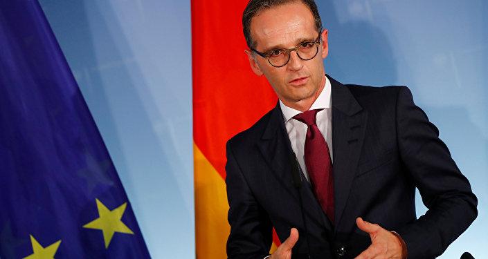 Heiko Maas, ministro de Exteriores alemán en una rueda de prensa con su homólogo ruso, Serguéi Lavrov, en Berlín