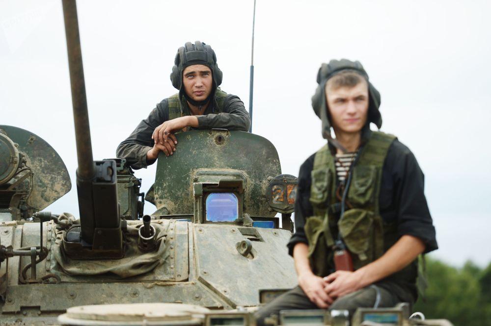 Soldados rusos durante las maniobras militares Vostok 2018.