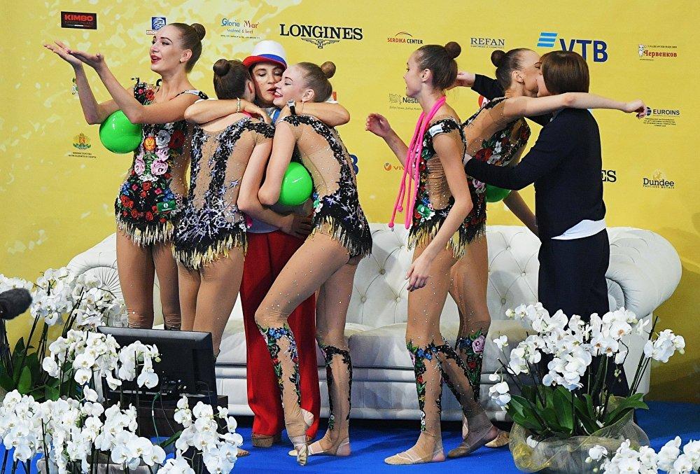El equipo de Rusia después de su actuación durante la fase de grupos en Sofía (Bulgaria).