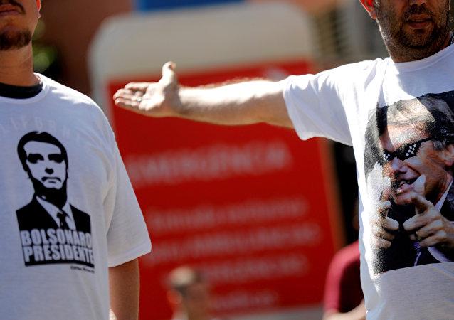 Partidarios de Jair Bolsonaro, candidato presidencial brasileño