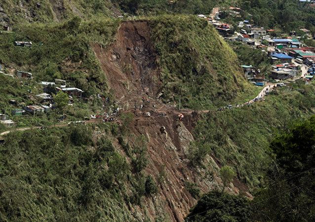 Deslizamiento causado por el tifón Mangkhut en Filipinas