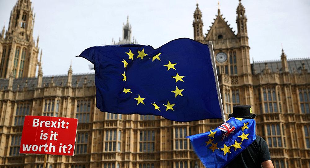 Un manifestante con la bandera de la UE en Londres, el Reino Unido