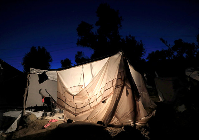 Campo de migrantes en Lesbos, Grecia