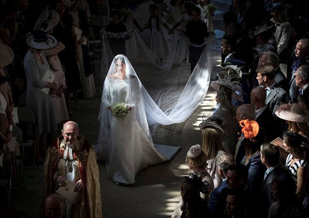 Meghan Markle durante su boda con el príncipe Enrique