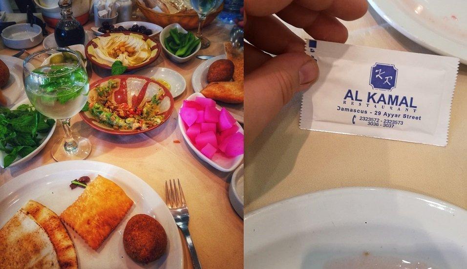 Una cena en un restaurante de Damasco