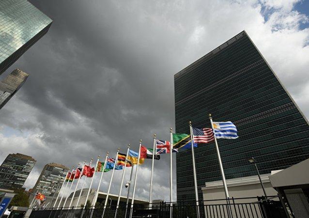 Banderas de los Estados Miembros de las Naciones Unidas frente de la sede de la ONU