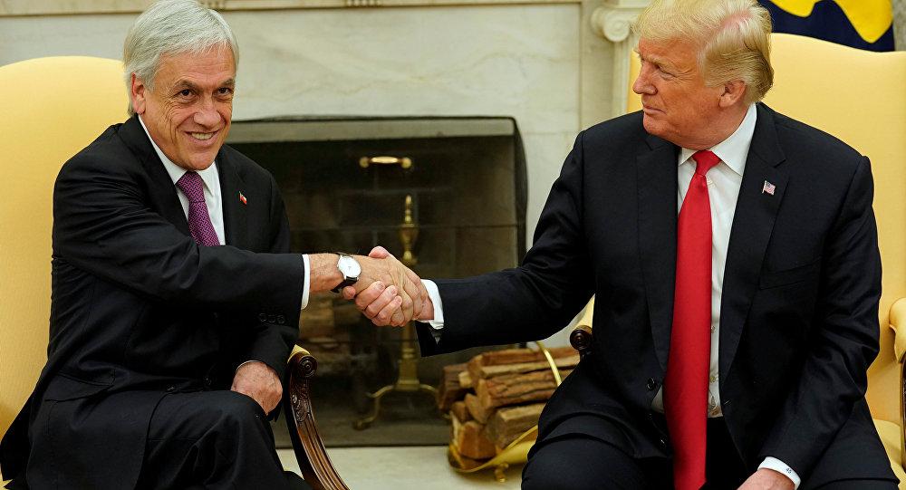 El presidente de Chile, Sebastián Piñera, con su par estadounidense Donald Trump en la Casa Blanca