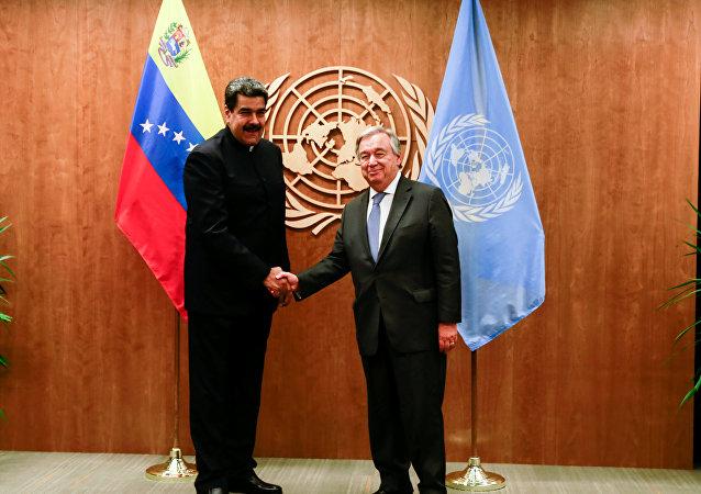 El presidente de Venezuela, Nicolás Maduro y el Secretario General de la ONU, Antonio Guterres