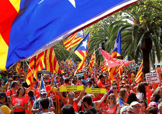 Las banderas independentistas en una manifestación