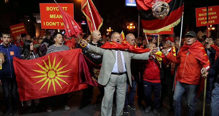 Las manifestaciones tras el referéndum en Macedonia