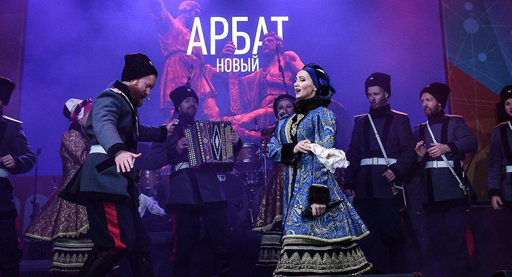 El Coro de Cosacos de Moscú durante los festejos por el Día de la Unidad Nacional de 2017, en Rusia