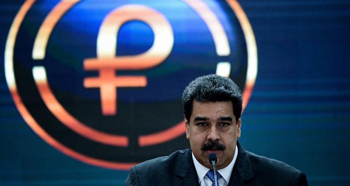 El presidente de Venezuela, Nicolás Maduro, durante su discurso sobre petro