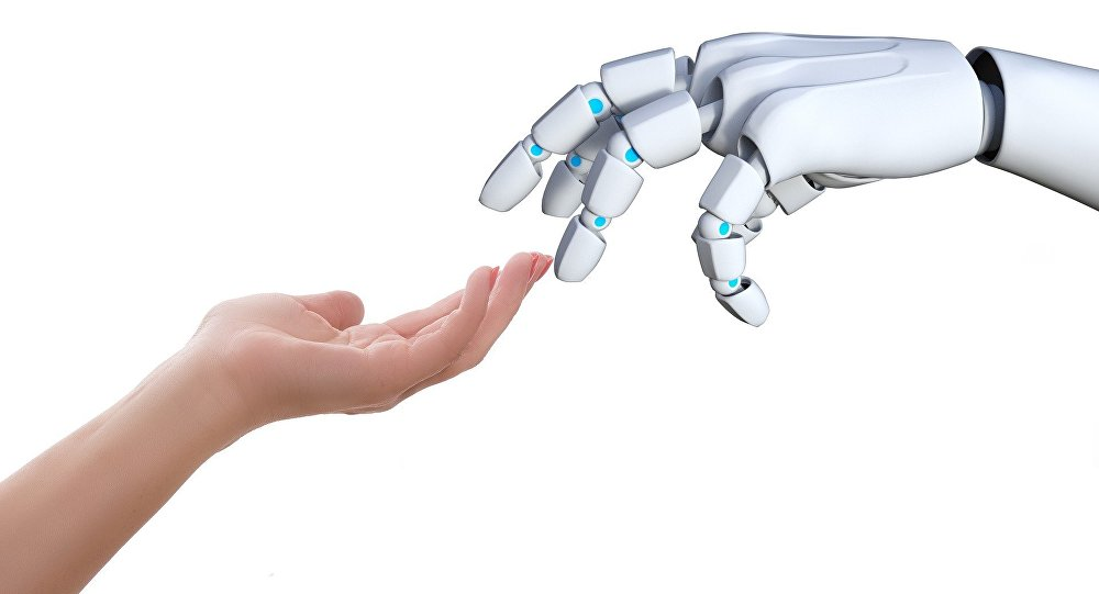 Humano le da la mano a un robot