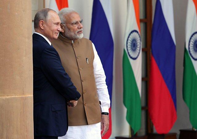 Primer ministro indio, Narendra Modi, y presidente de Rusia, Vladímir Putin