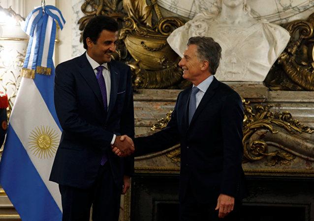 El emir de Catar, Tamim bin Hamad Thani, y el presidente de Argentina, Mauricio Macri
