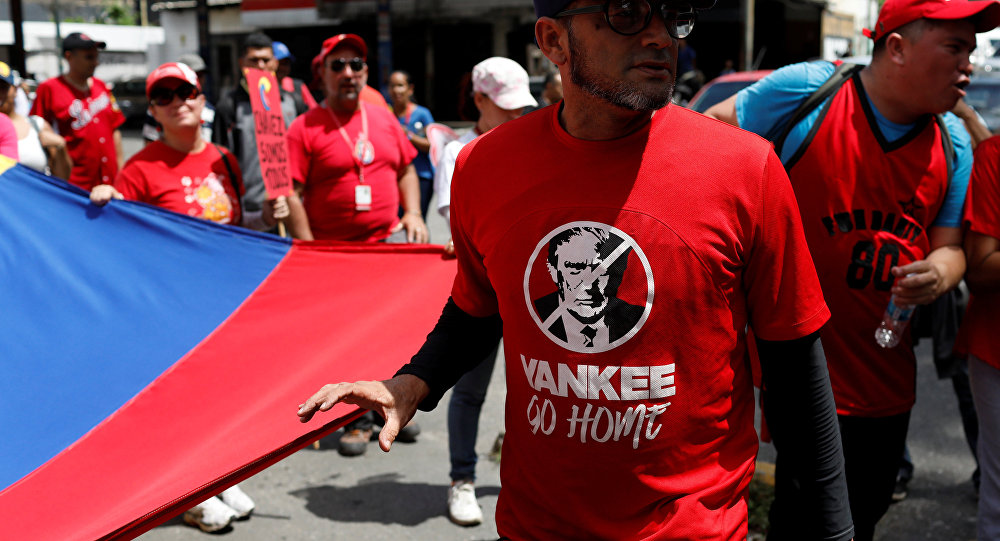 Marcha de oficialistas en Venezuela