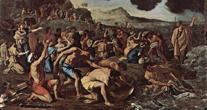 El paso del mar Rojo, una obra de Nicolas Poussin