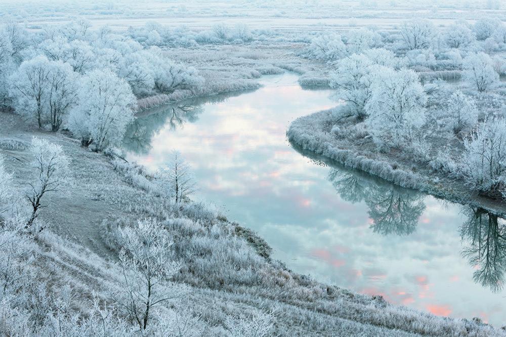 Yuri Sorokin fotografió su obra 'El río nacarado' en la región de Lípetsk.