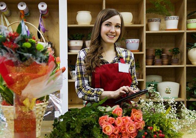 Una mujer que ama las flores... porque es una florista