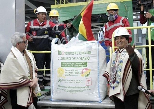 Evo Morales durante la inauguración de la fábrica de cloruro de potasio en salar de Uyuni