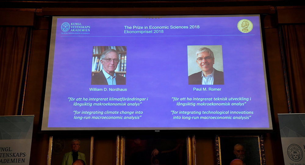 William Nordhaus y Paul Romer, de EU, ganan Nobel de Economía