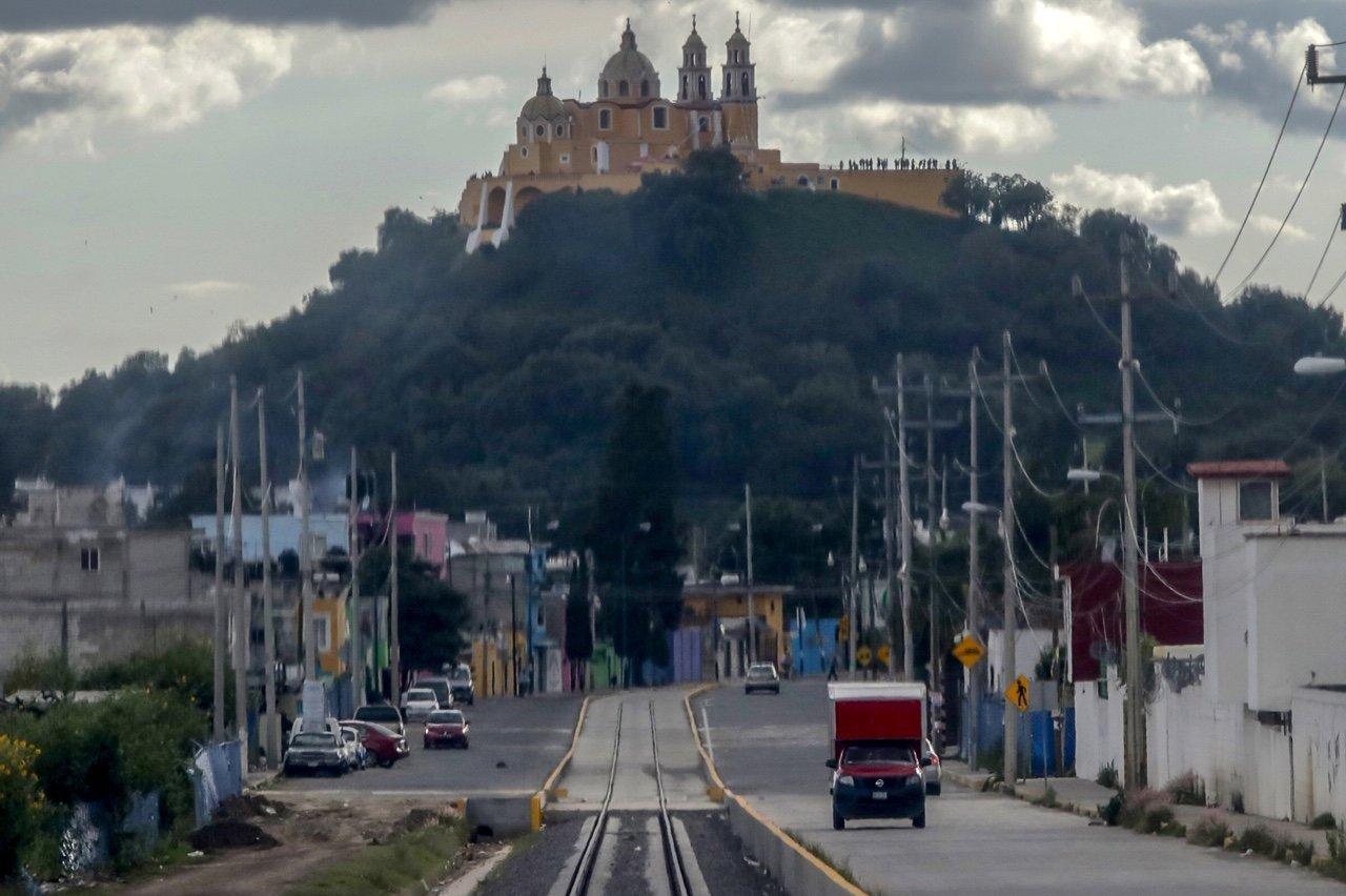 La vía del Tren Turístico Puebla-Cholula