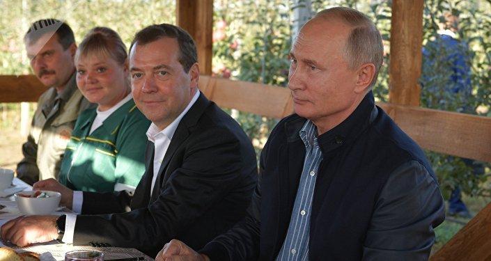 El almuerzo del presidente ruso, Vladímir Putin, y el primer ministro, Dmitri Medvédev, en la empresa agrícola Rassvet