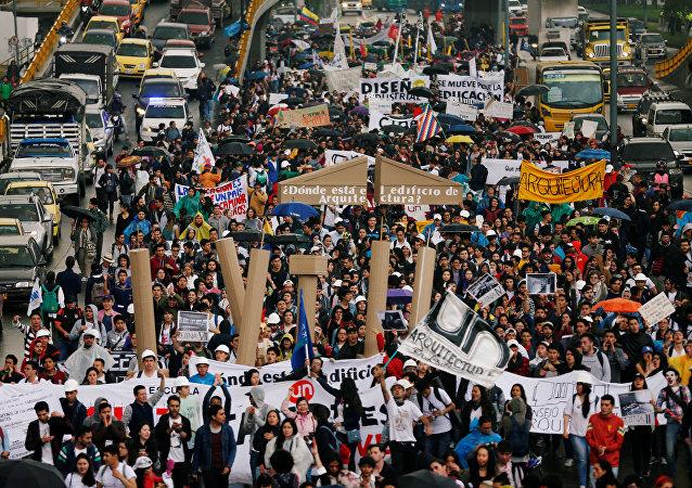 Protestas de estudiantes en Bogotá, Colombia