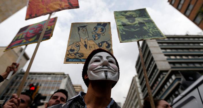 Protestas de estudiantes en Bogotá, la capital de Colombia