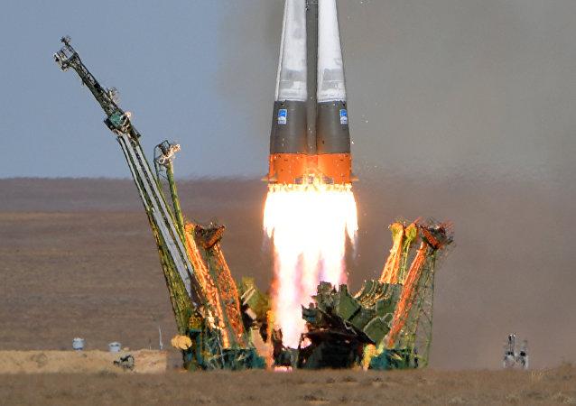 El lanzamiento del cohete Soyuz FG