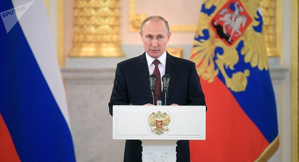 Vladímir Putin, presidente de Rusia, durante ceremonia de recepción de cartas credenciales (archivo)