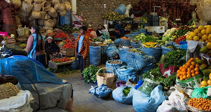 Frutas y verduras en un mercado boliviano