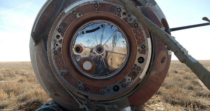 La cápsula de la nave espacial Soyuz MS-10 (archivo)