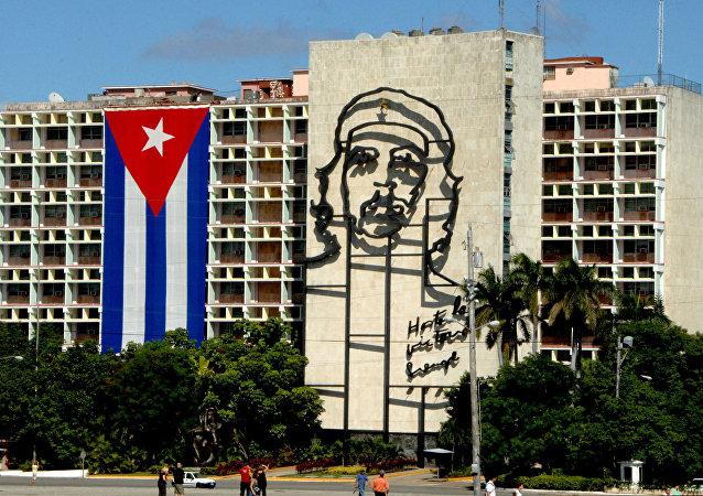 Bandera cubana en La Habana, capital de Cuba