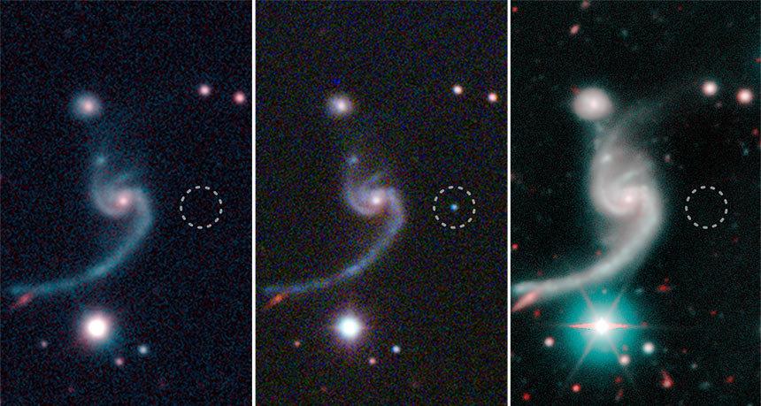 Imágenes de la explosión de la supernova iPTF 14gqr (centro) en 2014