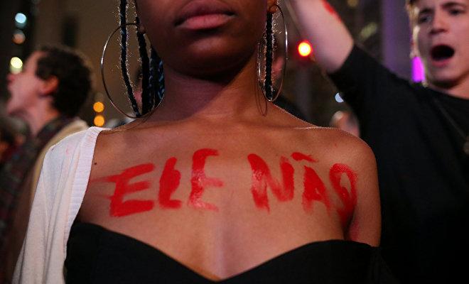 Protesta 'Él no' contra Bolsonaro en San Paulo, Brasil, 11 de octubre de 2018