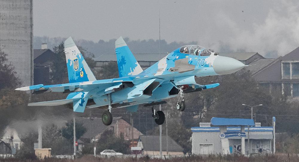 Un avión de combate Su-27 ucraniano (archivo)