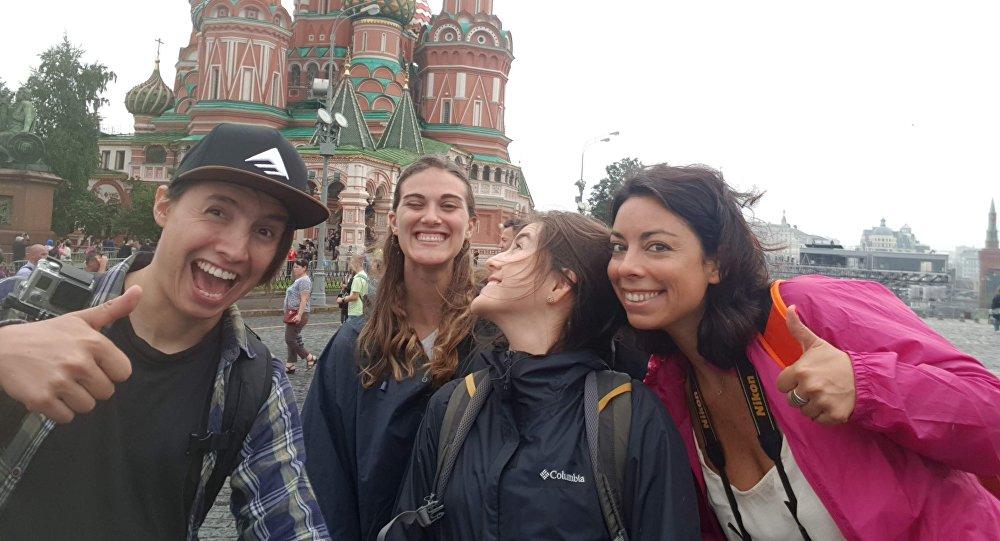 Parte del grupo de viajeros en la Plaza Roja