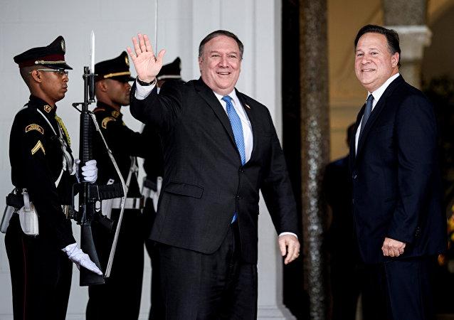 Secretario de Estado de EEUU, Mike Pompeo, y presidente de Panamá, Juan Carlos Varela