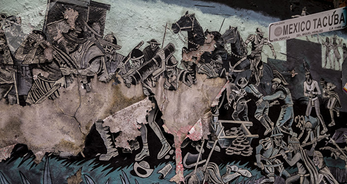 Mural que representa la conquista, sobre la Calzada México-Tacuba