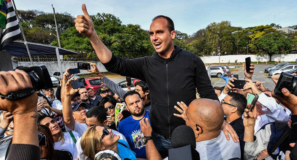 Eduardo Bolsonaro, hijo del candidato brasileño Jaír Bolsonaro