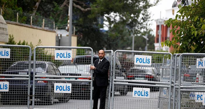 La entrada al Consulado de Arabia Saudí en Turquía