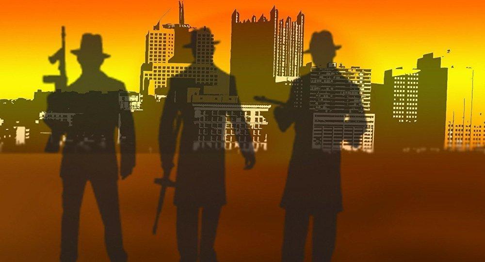 Siluetas de hombres armados