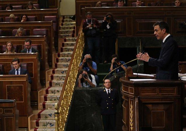 Pedro Sánchez, presidente del Gobierno español, en la sesión parlamentaria
